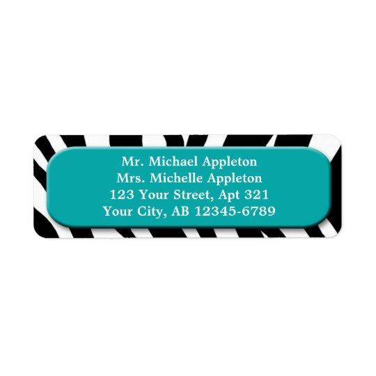 Classy Zebra Print Teal Address Labels