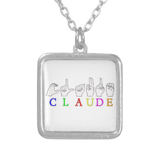 CLAUDE FINGERSPELLED ASL SIGN NAME SILVER PLATED NECKLACE