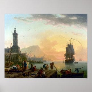 Claude-Joseph Vernet A Calm at Mediterranean Port Poster