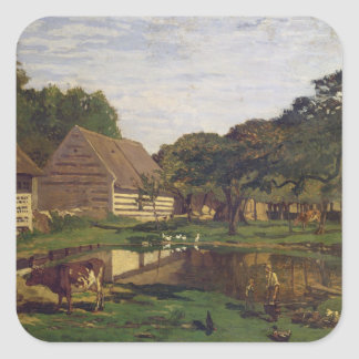 Claude Monet | A Farmyard in Normandy Square Sticker