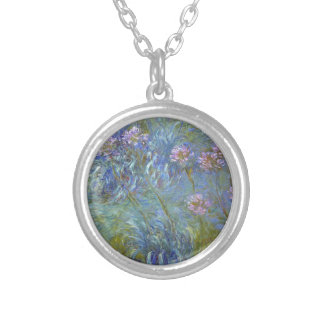Claude Monet - Agapanthus Classic Flowers Painting Silver Plated Necklace