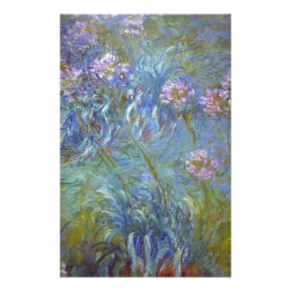 Claude Monet - Agapanthus Classic Flowers Painting Stationery