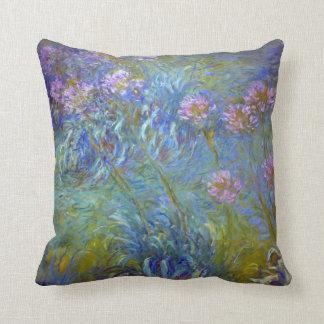 Claude Monet Agapanthus Flowers Throw Pillow