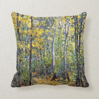 Claude Monet art: Wood Lane, painting by Monet Throw Pillow