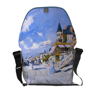 Claude Monet: At the Beach of Trouville Messenger Bags
