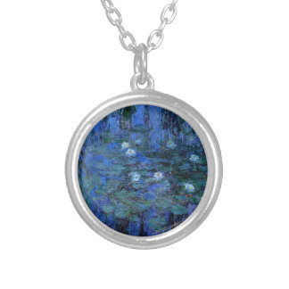 Claude Monet Blue Water Lilies Silver Plated Necklace
