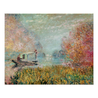 Claude Monet |  Boat Studio on the Seine Poster