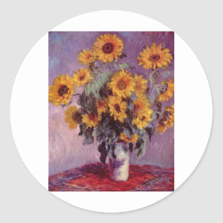 Claude Monet Bouquet of Sunflowers Classic Round Sticker