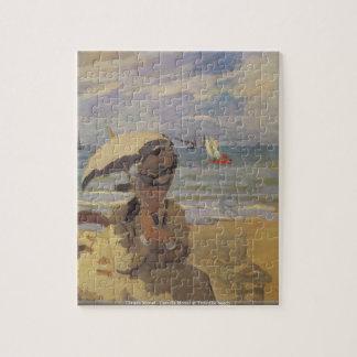 Claude Monet - Camille Monet at Trouville beach Jigsaw Puzzle