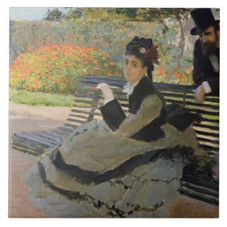 Claude Monet - Camille Monet on a Bench Tile