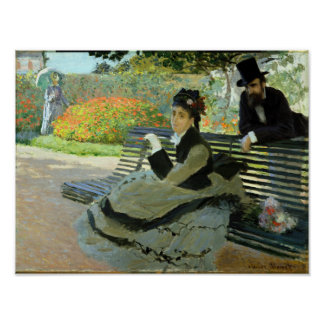 Claude Monet Camille on a Garden Bench Poster