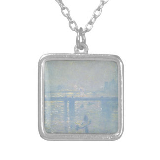 Claude Monet - Charing Cross Bridge. Classic Art Silver Plated Necklace