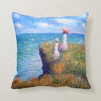 Claude Monet: Cliff Walk at Pourville Throw Pillow