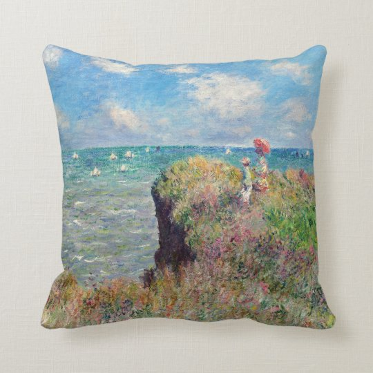 Claude Monet Cliff Walk at Pourville Throw Pillow