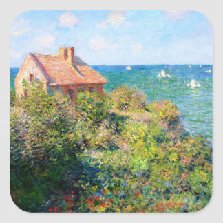 Claude Monet: Fishermans Cottage at Varengeville Square Sticker