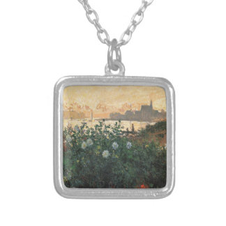 Claude Monet - Flowered Riverbank Argenteuil Silver Plated Necklace