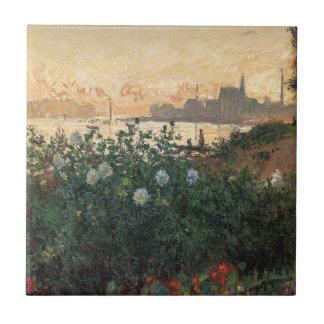 Claude Monet - Flowered Riverbank Argenteuil Tile
