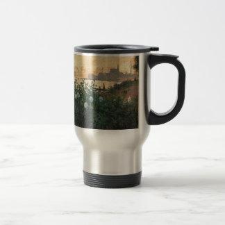 Claude Monet - Flowered Riverbank Argenteuil Travel Mug
