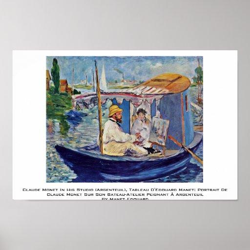 Claude Monet In His Studio (Argenteuil) Print