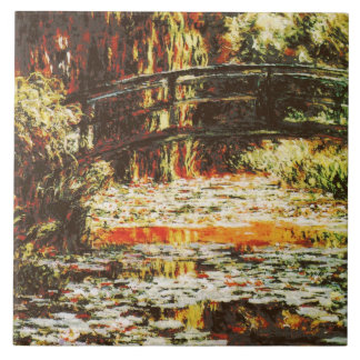 Claude monet - Japanese bridge and water lilies Tile