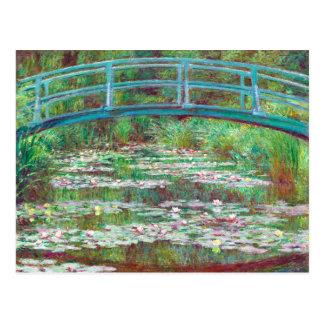 Claude Monet Japanese Footbridge Restored Colour Postcard