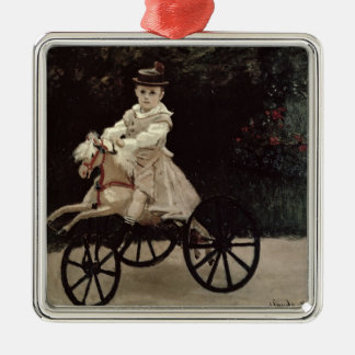 Claude Monet | Jean Monet on his Hobby Horse, 1872 Silver-Colored Square Ornament