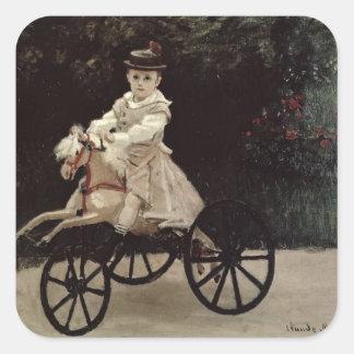 Claude Monet | Jean Monet on his Hobby Horse, 1872 Square Sticker