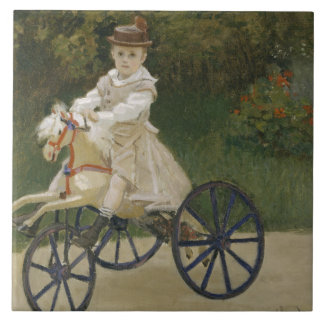 Claude Monet - Jean Monet on his Hobby Horse Ceramic Tile