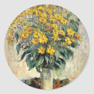 Claude Monet Jerusalem Artichoke Flowers 1880 Classic Round Sticker