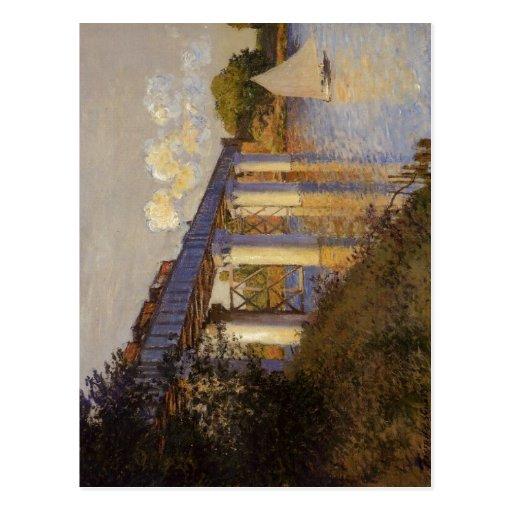 Claude Monet le pont de chemin de fer à Argenteuil Carte Postale