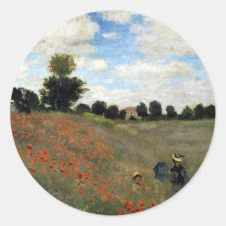 Claude Monet - Les Coquelicots Classic Round Sticker