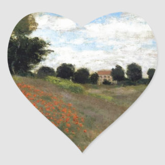 Claude Monet - Les Coquelicots Heart Sticker