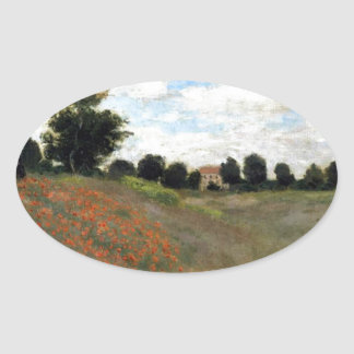 Claude Monet - Les Coquelicots Oval Sticker