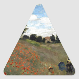 Claude Monet - Les Coquelicots Triangle Sticker