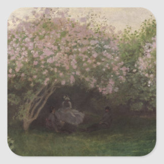 Claude Monet | Lilacs, Grey Weather, 1872 Square Sticker