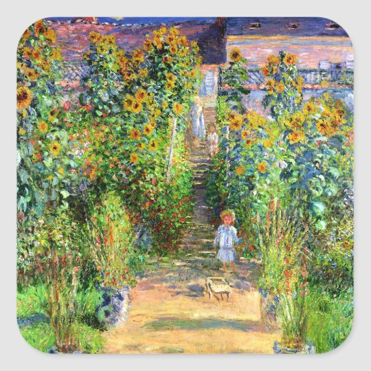 Claude Monet: Monet's Garden at Vétheuil Square Sticker