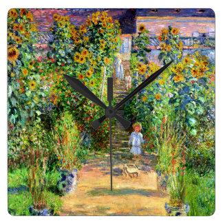 Claude Monet: Monet's Garden at Vétheuil Square Wall Clock