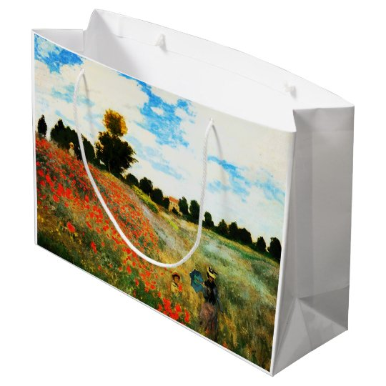 Claude Monet-Poppies at Argenteuil Large Gift Bag