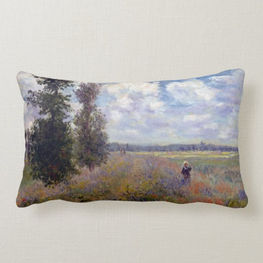 Claude Monet Poppy Fields near Argenteuil Lumbar Pillow