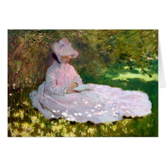 Claude Monet Reading Woman Springtime Painting Card
