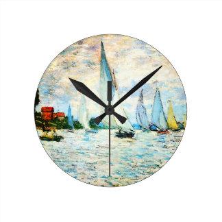 Claude Monet-Regatta at Argenteuil Wall Clock