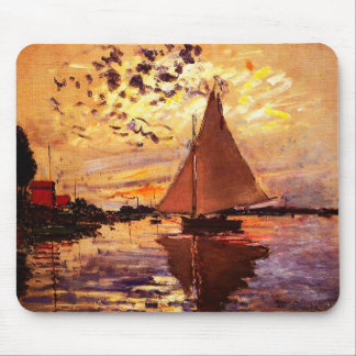 Claude Monet-Sailboat at Le Petit-Gennevilliers Mouse Pad
