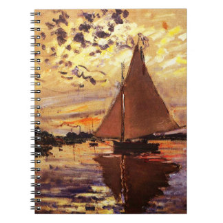 Claude Monet-Sailboat at Le Petit-Gennevilliers Spiral Note Book