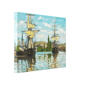 Claude Monet Ships Riding On The Seine At Rouen Canvas Print