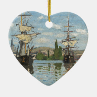 Claude Monet Ships Riding on the Seine at Rouen Ceramic Ornament