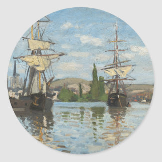 Claude Monet Ships Riding on the Seine at Rouen Classic Round Sticker