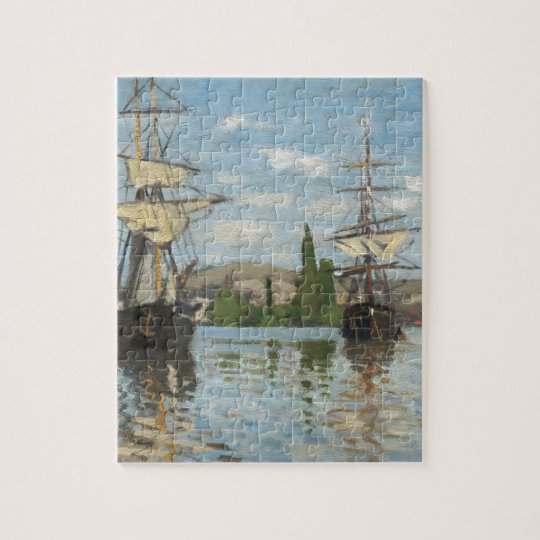Claude Monet Ships Riding on the Seine at Rouen Jigsaw Puzzle