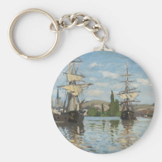 Claude Monet Ships Riding on the Seine at Rouen Keychain