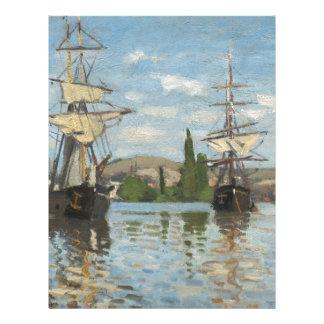 Claude Monet Ships Riding on the Seine at Rouen Letterhead Design