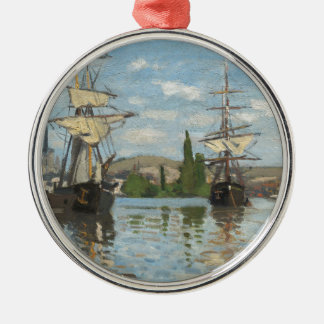 Claude Monet Ships Riding on the Seine at Rouen Metal Ornament